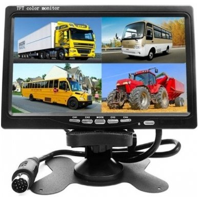 Spec. technikos LCD 7.0 colių monitorius vienai / keturioms kameroms 12V-24V