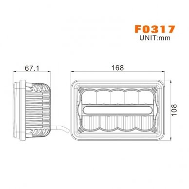 Sunkvežimių priekinis CREE LED žibintas 45W artimos/ tolimos/ gabaritas 9-32V 12