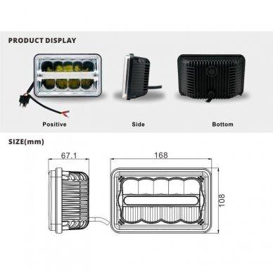Sunkvežimių priekinis CREE LED žibintas 45W artimos/ tolimos/ gabaritas 9-32V 11
