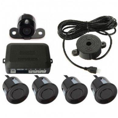 """VIDEO ir 4-ių juodų jutiklių parkavimosi sistema """"EAGLE"""" su garsiniu Bi-Bii signalu"""