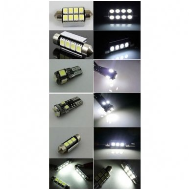 Volkswagen Golf 6 LED salono apšvietimo lempučių komplektas 2
