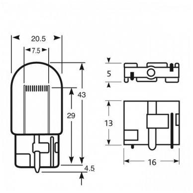 W21W / 7440 dviejų apatinių kontaktų lemputės jungtis tvirtinimas į žibintą 4