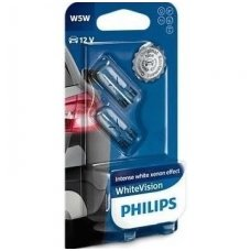 W5W/T10 PHILIPS White Vision 3700K 12V 5W baltos halogeninės lemputės 12961NBVB2, 8727900392043