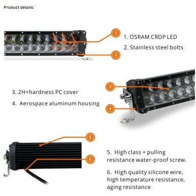 XLED 4D 288W lenktas OSRAM-CRD LED žibintas COMBO 126cm 18